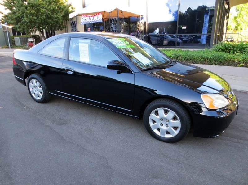 2002 HONDA CIVIC EX 2DR COUPE WSIDE AIRBAGS black  35 mpg ex coupe automatic transmission p