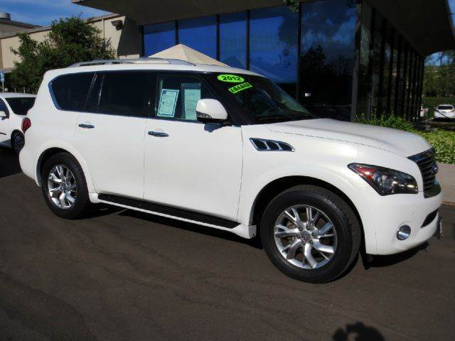 2012 INFINITI QX56 4X2 4DR SUV white well equipped with  theater pkg  navigation  dvd system