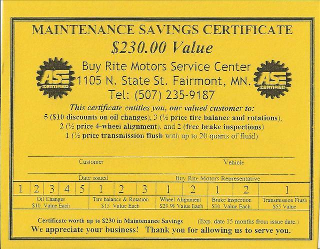 2012 Buy Rite Motors Service Coupon