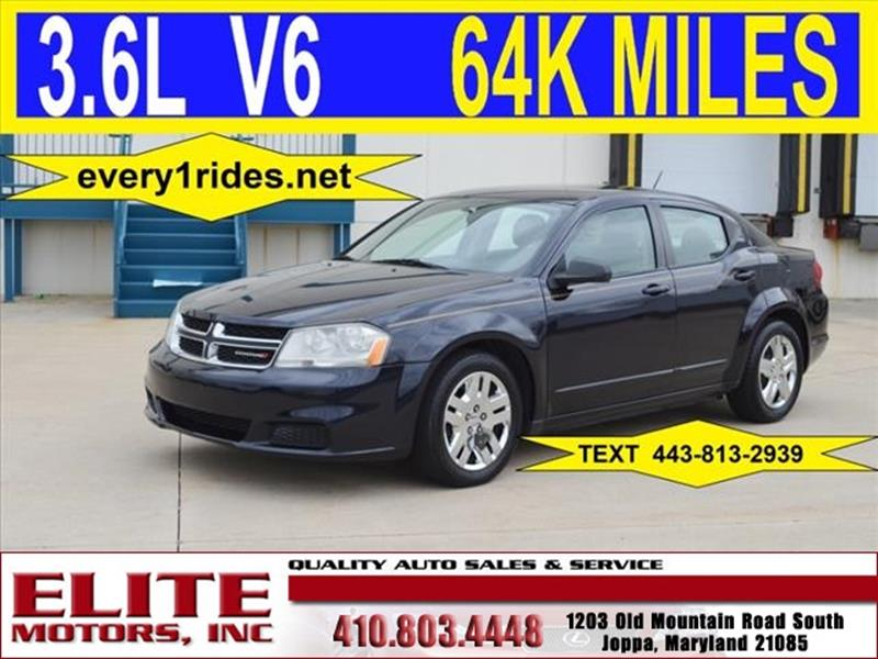 2012 dodge avenger se v6 4dr sedan in joppa md elite for Elite motors joppa md