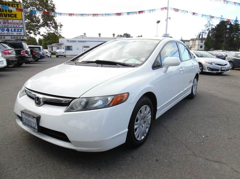 2007 HONDA CIVIC GX 4DR SEDAN white has carpool stickers  need financing we can help call no