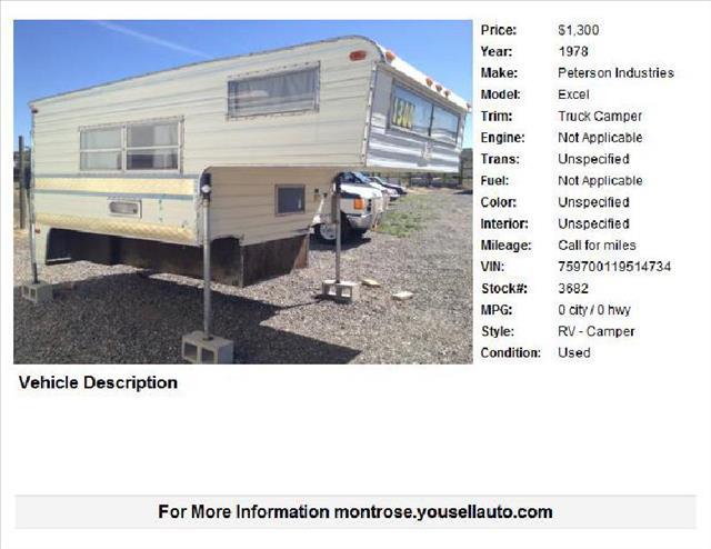1978 EXCEL TRUCK CAMPER  - Montrose CO