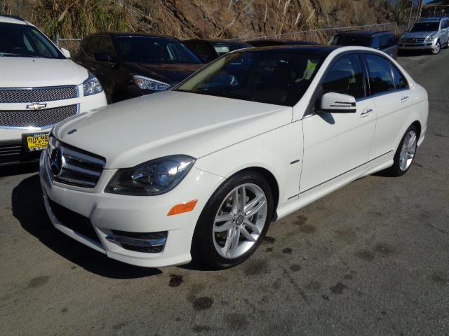 2012 MERCEDES-BENZ C-CLASS C250 SPORT 4DR SEDAN arctic white navigation panorama roof navigation