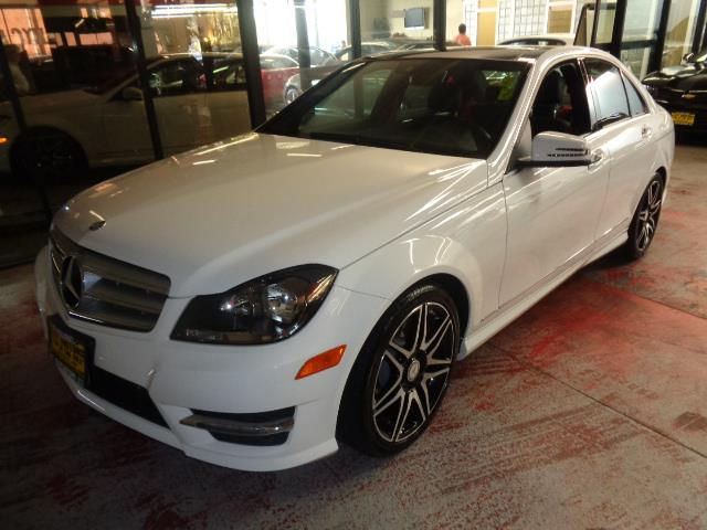 2013 MERCEDES-BENZ C-CLASS C350 SPORT 4DR SEDAN polar white alcantaraleather interior with devia