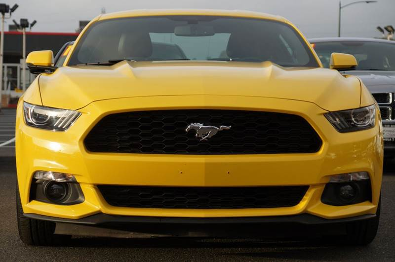 2015 FORD MUSTANG ECOBOOST PREMIUM 2DR FASTBACK triple yellow tri-coat 2-stage unlocking doors a