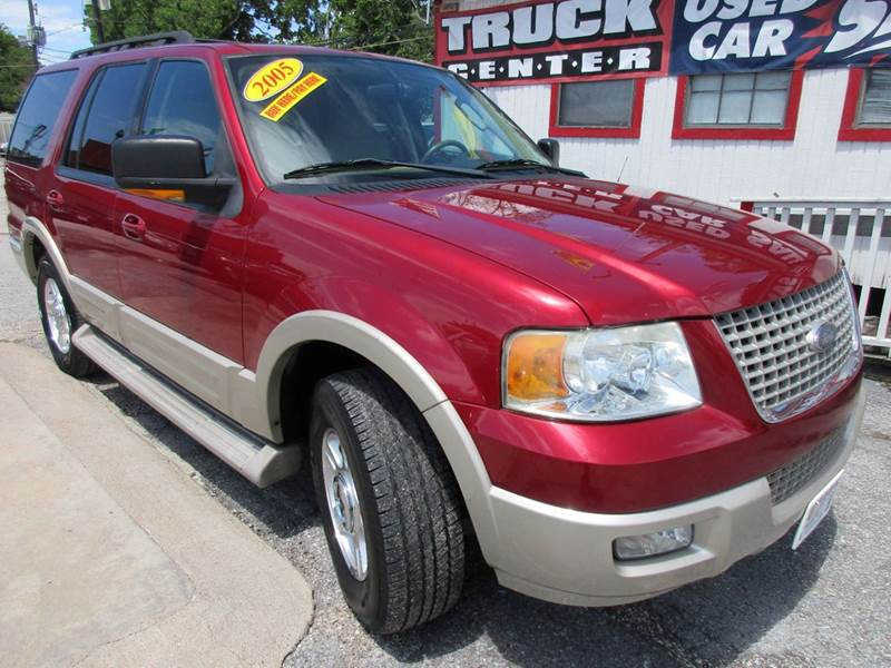 2005 FORD EXPEDITION EDDIE BAUER 4DR SUV red third row power leather split rear seats interior c