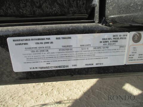 2019 Rice Trailers Single Axle Utility SST7612