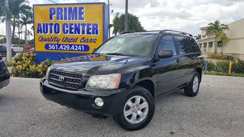 2002 Toyota Highlander for sale at PRIME AUTO CENTER in Palm Springs FL
