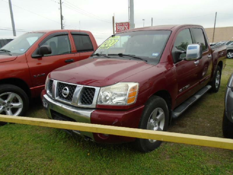 2005 NISSAN TITAN XE 4DR CREW CAB RWD SB red air conditioning power windows power locks power