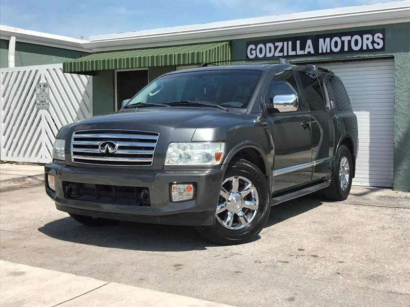 2004 INFINITI QX56 BASE 4WD 4DR SUV gray running boards skid plates front air conditioning f