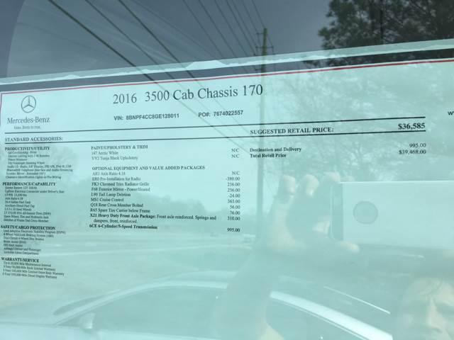 2016 Mercedes-Benz Sprinter 4x2 3500 170 WB 2dr DRW Chassis - Acworth GA