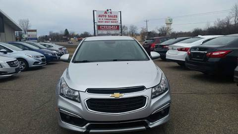 2015 Chevrolet Cruze for sale at A1 Auto Sales in Chisago City MN