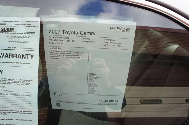 2007 Toyota Camry CE 4dr Sedan (2.4L I4 5A) - York PA