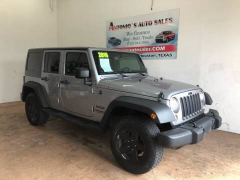 2016 Jeep Wrangler Unlimited for sale at Antonio's Auto Sales in South Houston TX