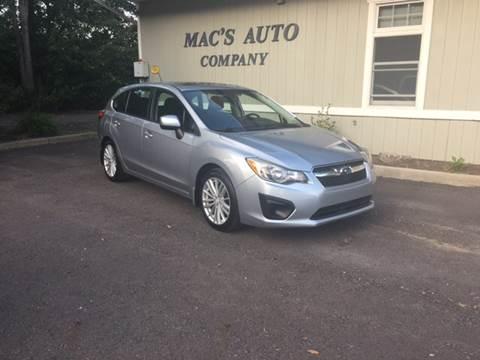 2012 Subaru Impreza for sale at MAC'S AUTO COMPANY in Nanticoke PA