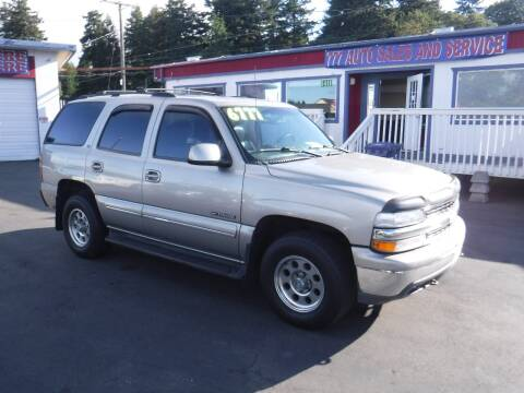 2000 Chevrolet Tahoe for sale at 777 Auto Sales and Service in Tacoma WA