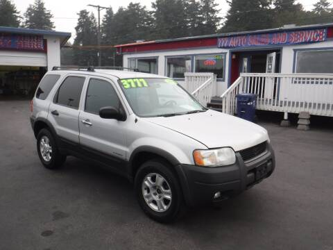 2002 Ford Escape for sale at 777 Auto Sales and Service in Tacoma WA