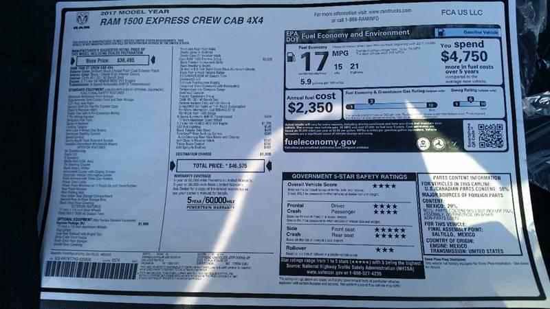 2017 RAM Ram Pickup 1500 4x4 Express 4dr Crew Cab 5.5 ft. SB Pickup - Greenwich NY