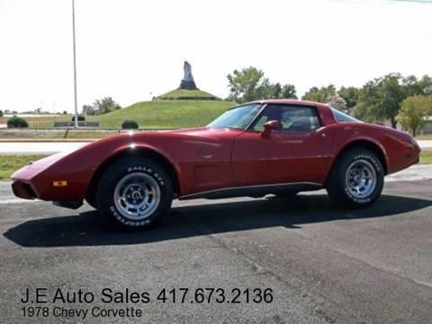 1978 Chevrolet Corvette for sale at JE AUTO SALES LLC in Webb City MO