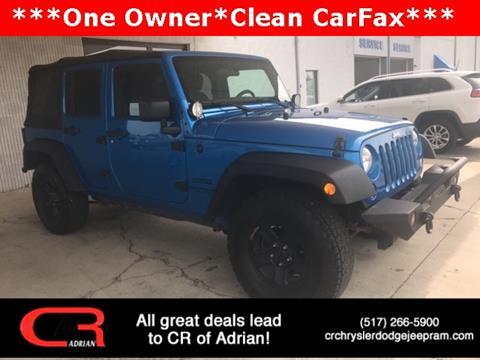 2016 Jeep Wrangler Unlimited for sale at CR Chrysler Dodge Jeep Ram of Adrian in Adrian MI