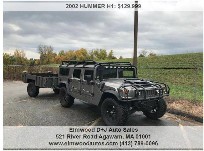 2002 HUMMER H1 for sale at Elmwood D+J Auto Sales in Agawam MA