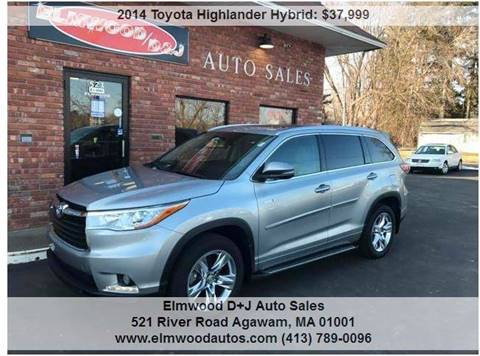 2014 Toyota Highlander Hybrid for sale at Elmwood D+J Auto Sales in Agawam MA