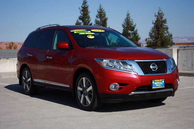 2014 NISSAN PATHFINDER PLATINUM 4X4 4DR SUV maroon rear spoiler - roofline body side moldings -