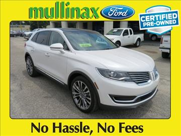 2016 Lincoln MKX for sale at Ask for Derek Montalvo at Mullinax Ford in Mobile AL