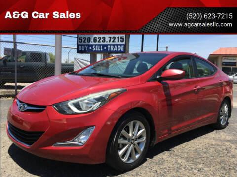 2016 Hyundai Elantra for sale at A&G Car Sales  LLC in Tucson AZ