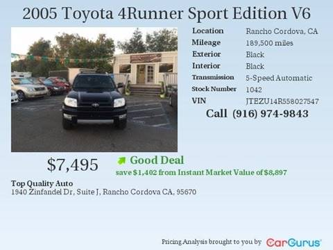 2005 Toyota 4Runner for sale at TOP QUALITY AUTO in Rancho Cordova CA