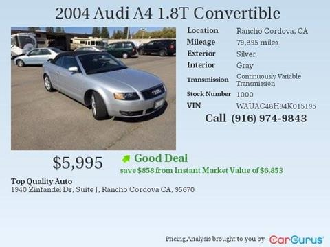 2004 Audi A4 for sale at TOP QUALITY AUTO in Rancho Cordova CA