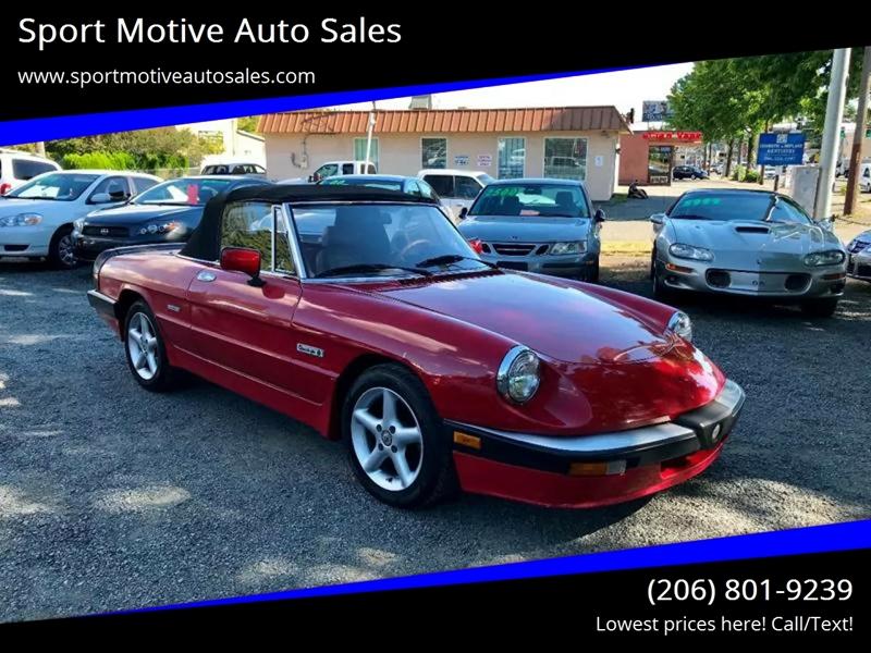 Alfa Romeo Spider Veloce In Seattle WA Sport Motive Auto Sales - 1986 alfa romeo spider veloce for sale