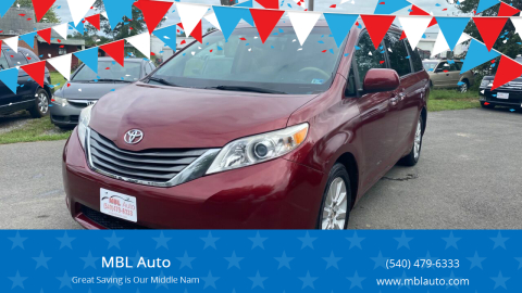 2013 Toyota Sienna for sale at MBL Auto in Fredericksburg VA