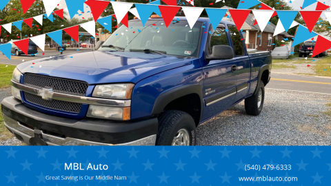 2003 Chevrolet Silverado 2500HD for sale at MBL Auto in Fredericksburg VA