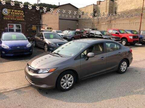 2012 Honda Civic for sale at STEEL TOWN PRE OWNED AUTO SALES in Weirton WV