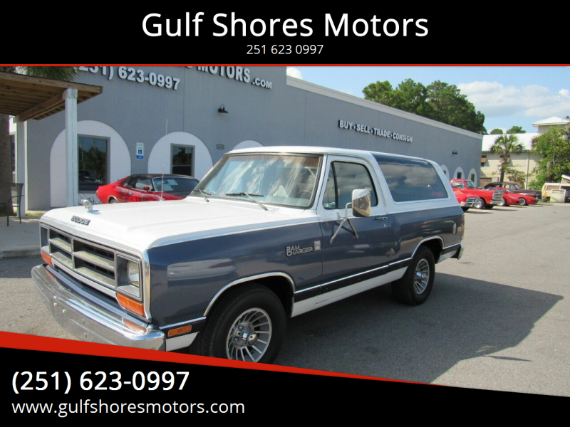1987 Dodge Ramcharger for sale at Gulf Shores Motors in Gulf Shores AL
