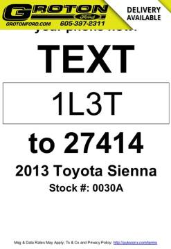 2013 Toyota Sienna for sale at Groton Ford in Groton SD