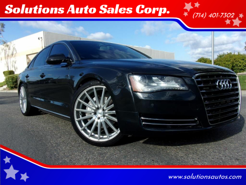 2013 Audi A8 for sale at Solutions Auto Sales Corp. in Orange CA
