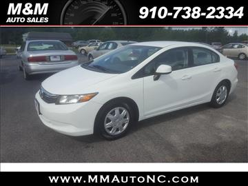 2012 Honda Civic for sale at M and M Auto Sales in Lumberton NC