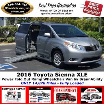 2016 Toyota Sienna for sale at Wheelchair Vans Inc - New and Used in Laguna Hills CA