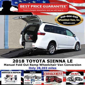 2018 Toyota Sienna for sale at Wheelchair Vans Inc - New and Used in Laguna Hills CA