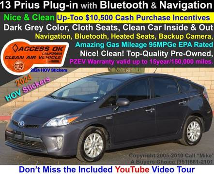2013 Toyota Prius Plug-in Hybrid for sale at A Buyers Choice in Jurupa Valley CA