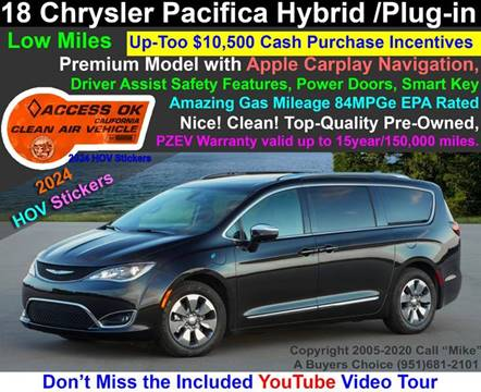 2018 Chrysler Pacifica Hybrid Touring Plus for sale at A Buyers Choice in Jurupa Valley CA