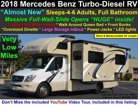 2018 Mercedes-Benz Freedom Elite Thor 24FE for sale at A Buyers Choice in Jurupa Valley CA