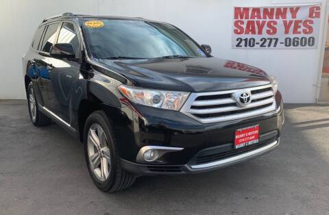 2012 Toyota Highlander for sale at Manny G Motors in San Antonio TX