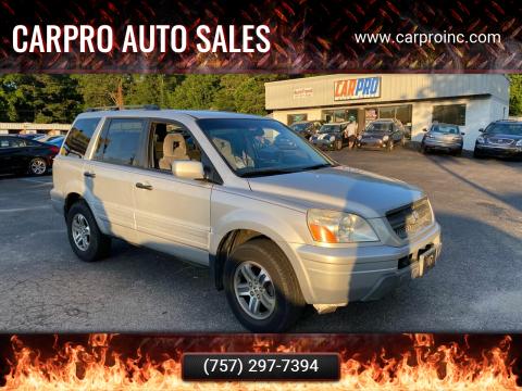 2005 Honda Pilot for sale at Carpro Auto Sales in Chesapeake VA
