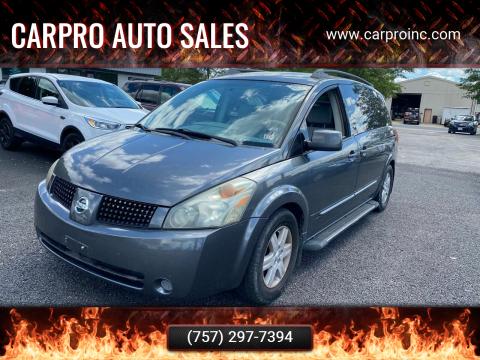 2004 Nissan Quest for sale at Carpro Auto Sales in Chesapeake VA