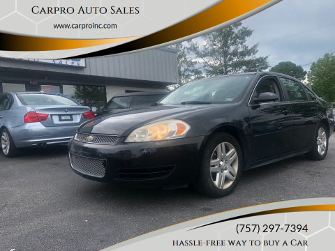 2012 Chevrolet Impala for sale at Carpro Auto Sales in Chesapeake VA