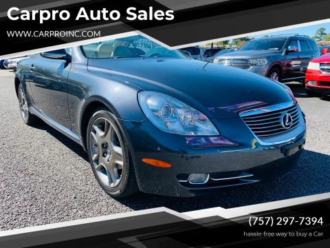 2007 Lexus SC 430 for sale at Carpro Auto Sales in Chesapeake VA