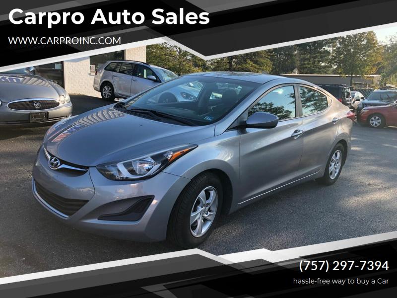 2014 Hyundai Elantra for sale at Carpro Auto Sales in Chesapeake VA